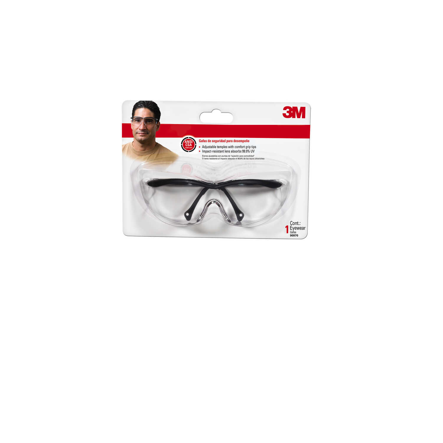 3M  Impact-Resistant Safety Glasses  Clear Lens Black Frame 1 pc.