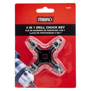 MIBRO  1/4 to 1/2 in.  4-In-1 Drill Chuck Key  Hardened Steel  1 pc.