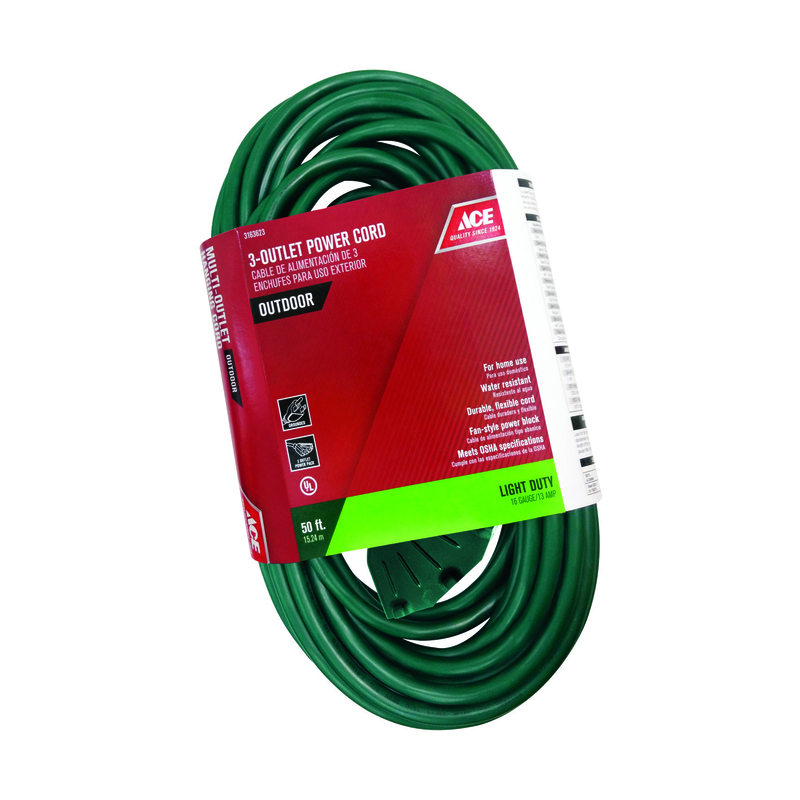Ace  Indoor and Outdoor  50 ft. L Green  Triple Outlet Cord  16/3 SJTW