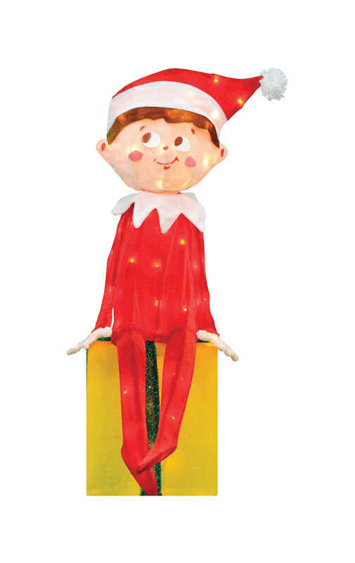 Elf On The Shelf  Prelit 3D Sitting Elf  Christmas Decoration  Multicolored  Polyester  1 each