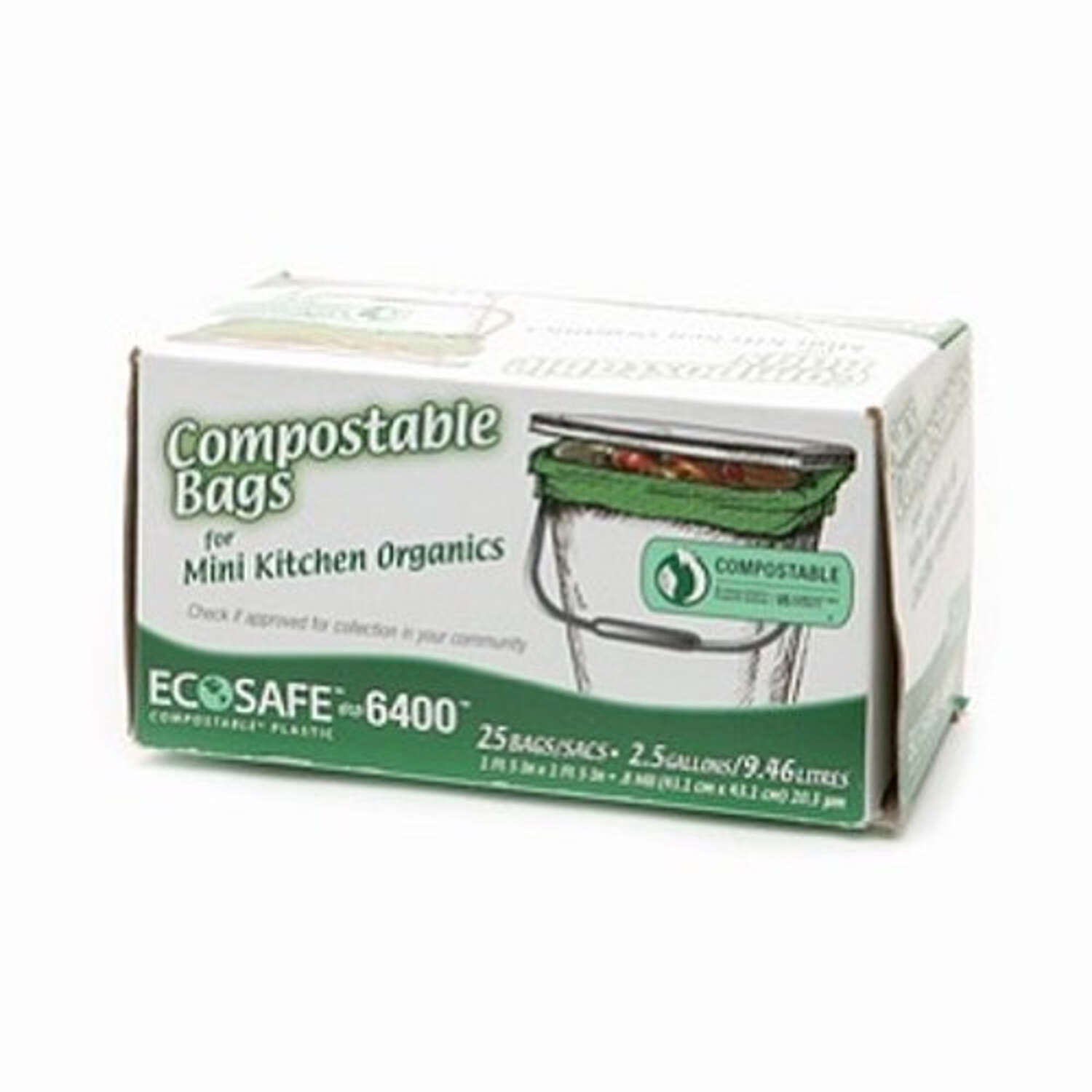 Eco-Safe  Compostable  2.6 gal. Trash Bags  Twist Tie  25 pk