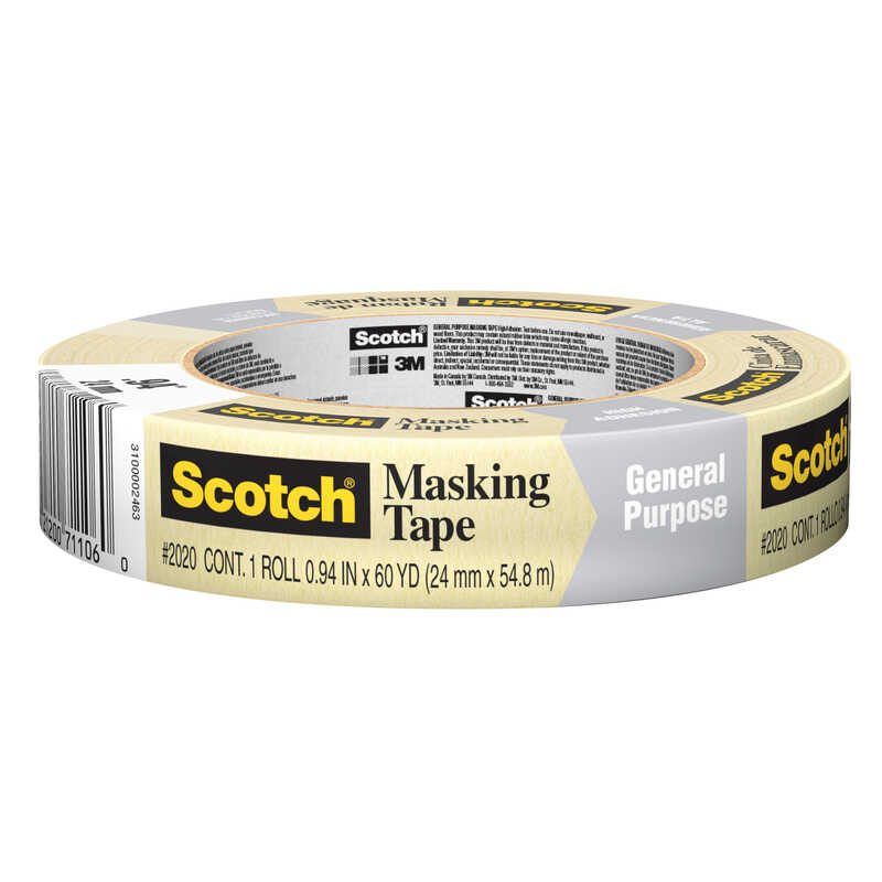 Scotch  .94 in. W x 60 yd. L Tan  Masking Tape  High Strength  1 pk