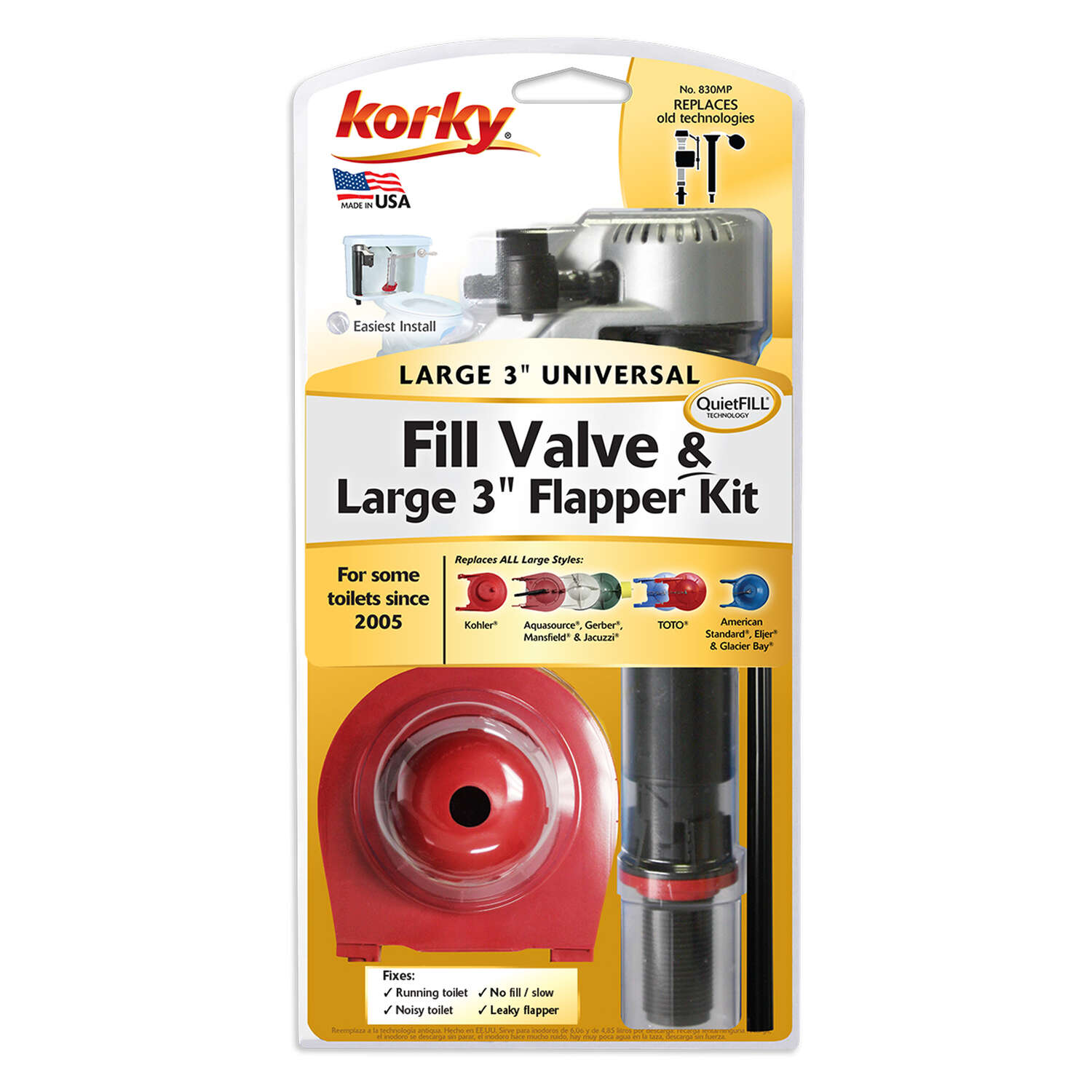 Korky  Fill Valve And Flapper Kit  13-1/2 in. H Plastic