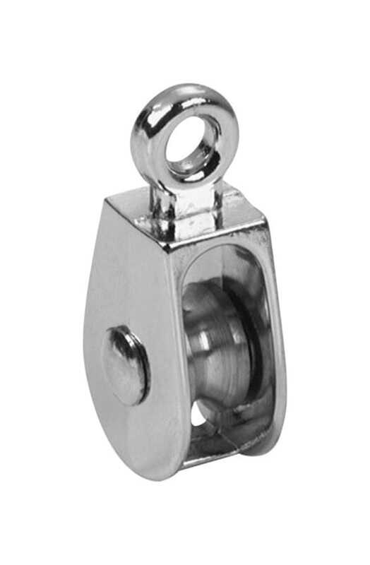 Baron  1 in. Dia. Electro-Plated  Zinc  Fixed Eye  Single Eye Pulley