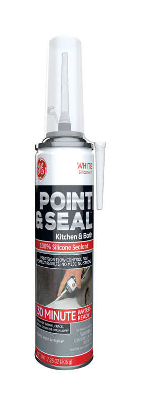 GE  Point and Seal  White  Silicone 2  Kitchen and Bath  Silicone  7.25 oz.