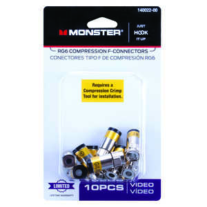 Monster Cable  Compression  RG6  Compression  Connector  10 pk
