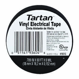 3M  Tartan  11/16 in. W x 60 ft. L Black  Vinyl  Electrical Tape
