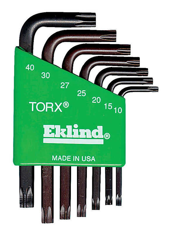 Eklind Tool  T10-T40  Short Arm  7 pc. Torx L-Key Set  Multi-Size in.