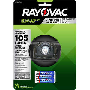 Rayovac  Sportsman Essentials  105 lumens Black  LED  Headlight  AA