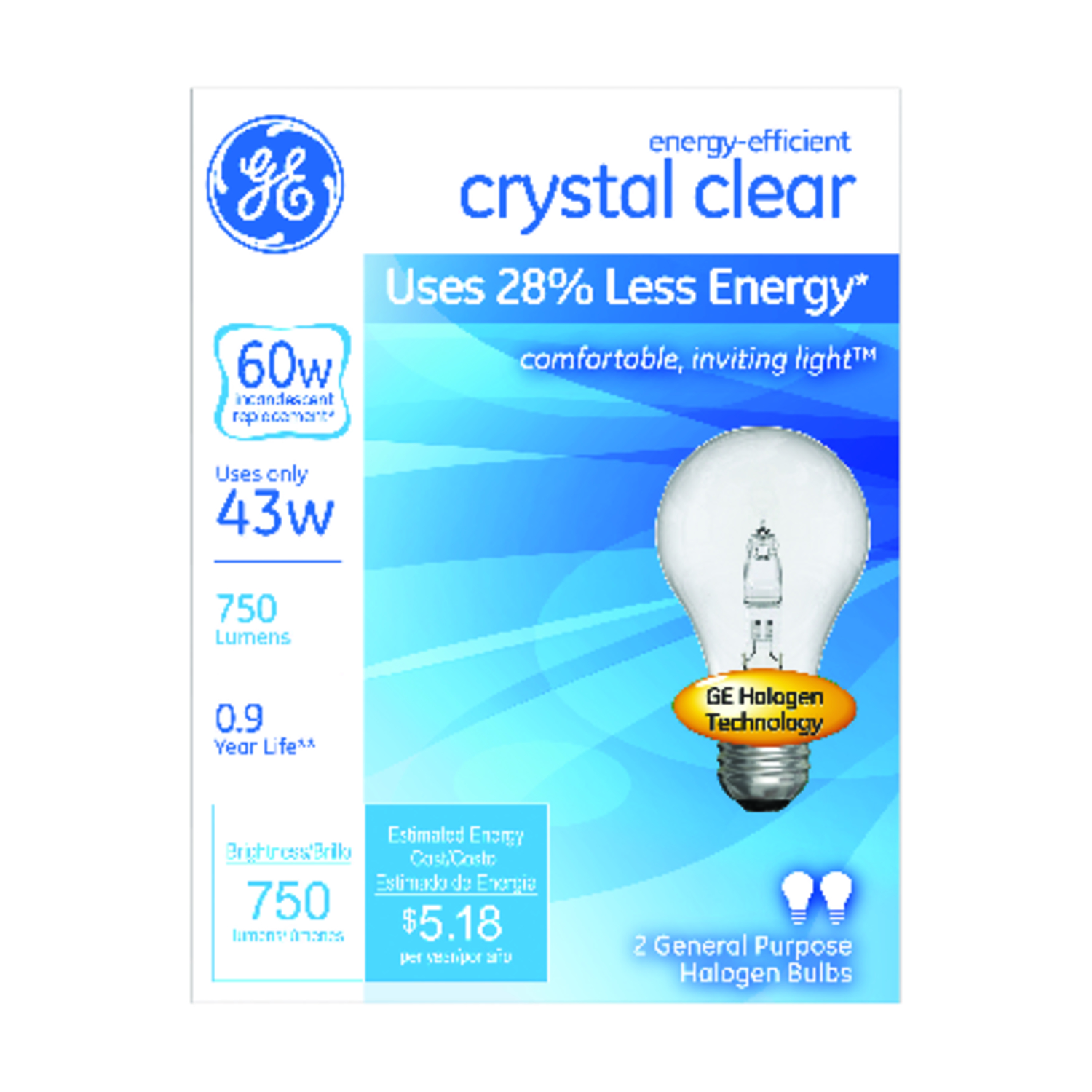 GE Lighting  43 watts A19  Halogen Bulb  750 lumens Bright White  2 pk Medium Base (E26)  A-Line