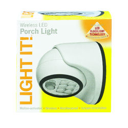 Fulcrum  LIGHT IT  Motion-Sensing  Battery Powered  White  Porch Light