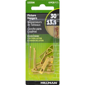 Hillman  AnchorWire  Brass-Plated  Gold  Conventional  Picture Hanger  30 lb. 6 pk Steel