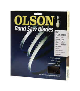 Olson  80  L x 0.02 in.  x 0.4 in. W Carbon Steel  Skip  1 pk 4 TPI Band Saw Blade