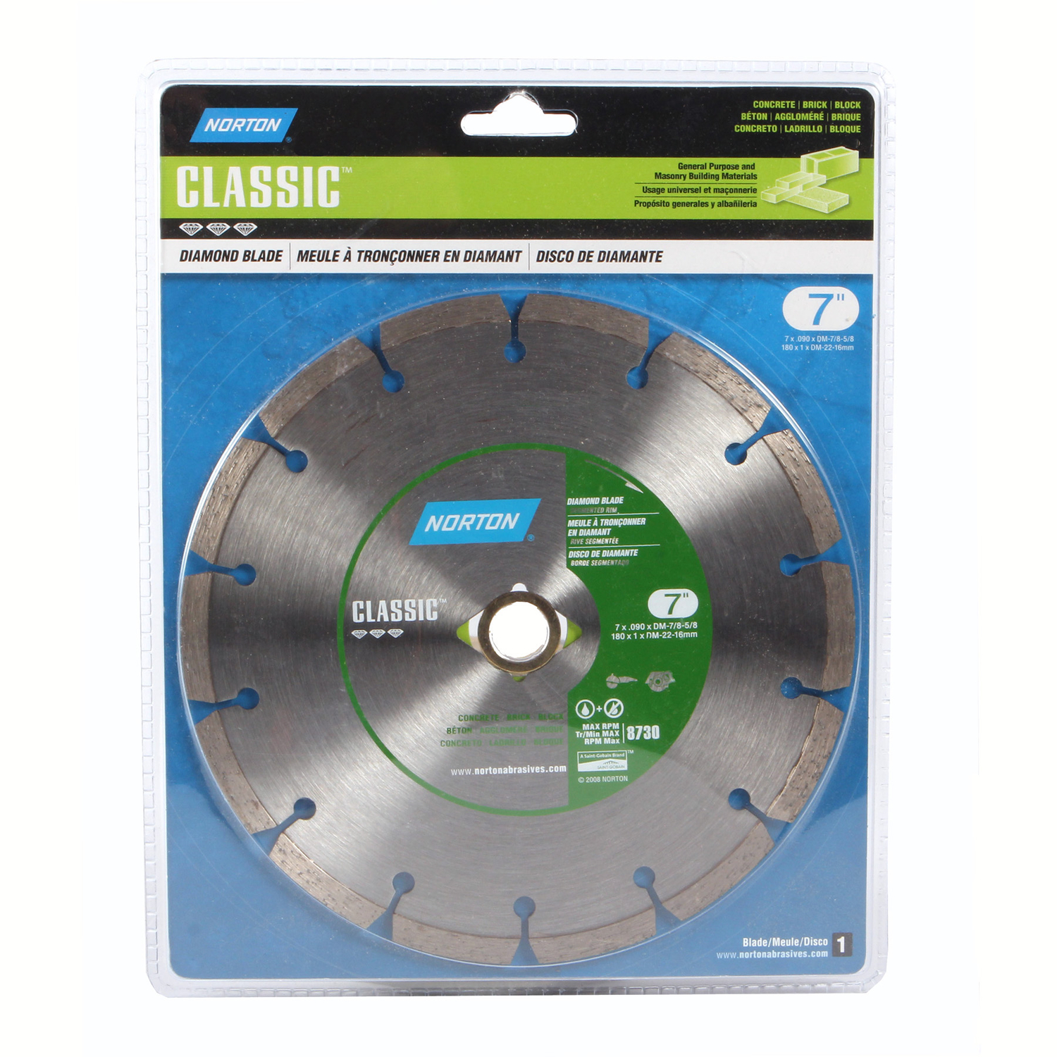 Norton  Classic  0.09 in.  7  Classic  Segmented Rim Diamond Saw Blade  1 pk Diamond  5/8 and 7/8 in