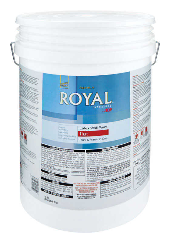 Ace  Royal  Flat  High Hiding White  Paint  5 gal. Vinyl Acetate/Ethylene