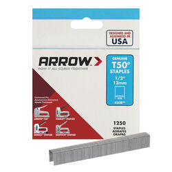 Arrow Fastener  T50  3/8 in. W x 1/2 in. L 18 Ga. Flat Crown  Heavy Duty Staples  1250 pk