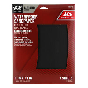 Ace  11 in. L x 9 in. W Assorted Grit Silicon Carbide  Sandpaper  4 pk