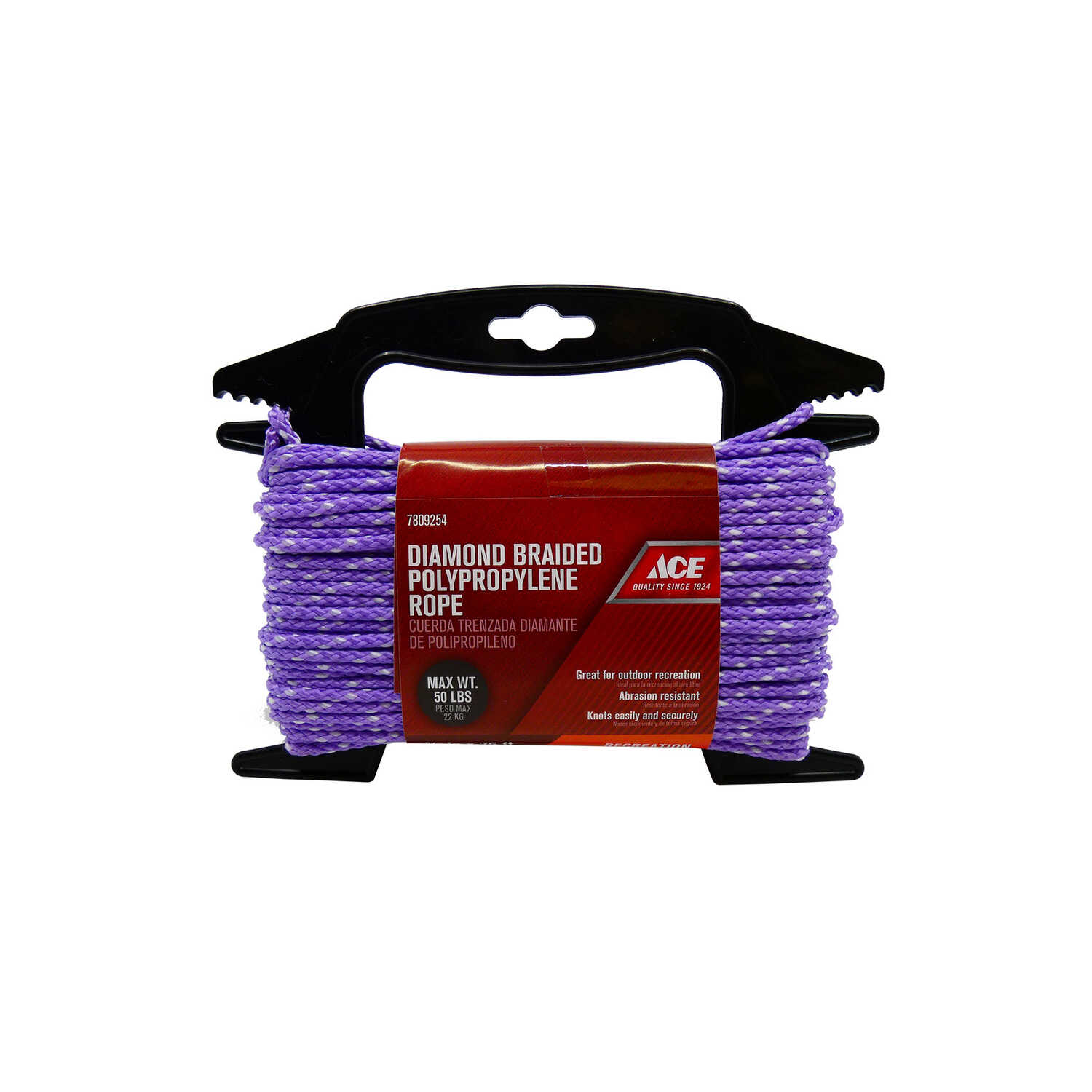 Ace  5/32 in. Dia. x 75 ft. L Assorted  Diamond Braided  Polypropylene  Rope