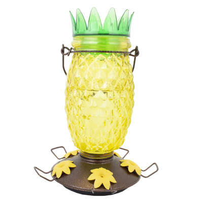 Perky-Pet  Wild Bird  3.5 lb. Glass/Metal  Top Fill Pineapple  Bird Feeder  3 ports