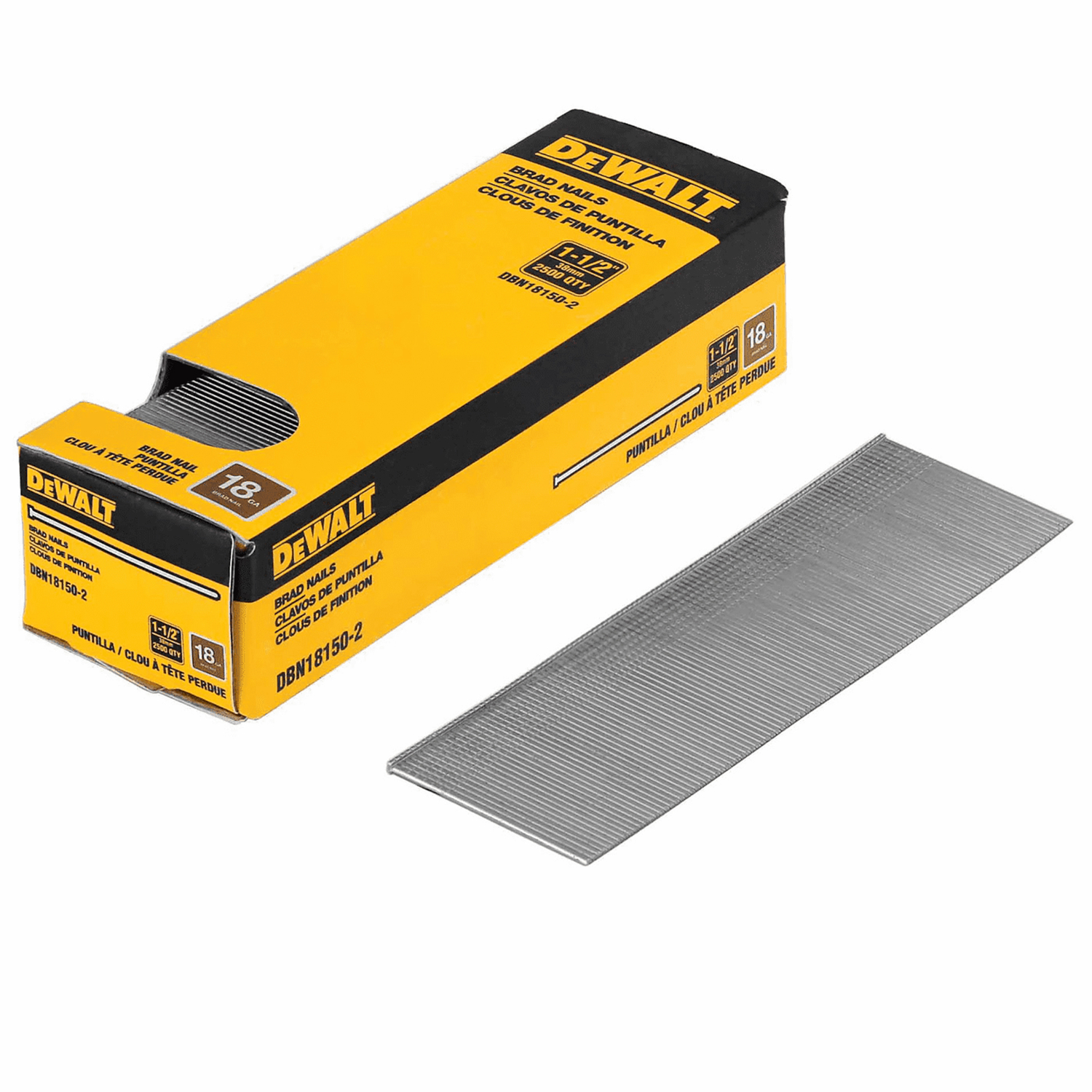 DeWalt 1-1/2 in. 18 Ga. Straight Strip Brad Nails Smooth Shank 2500 pk