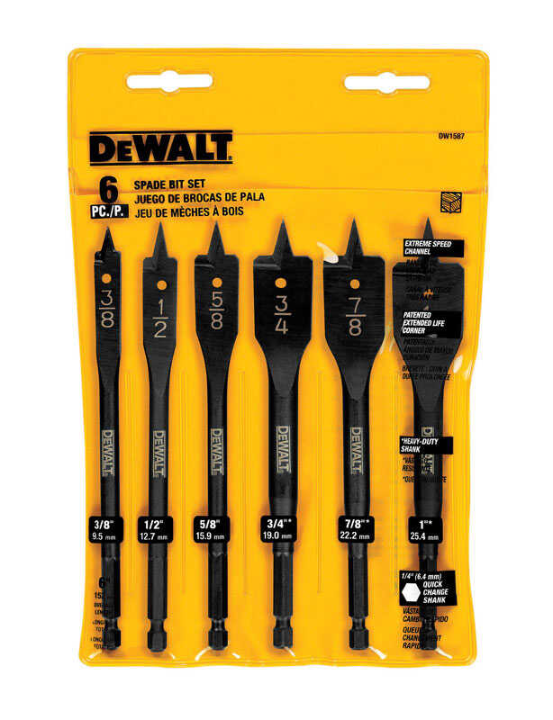 DeWalt  Multi Size in. Dia. x 6  L Black Oxide  Spade Bit Set  1/4 in. Hex Shank  6 pc.