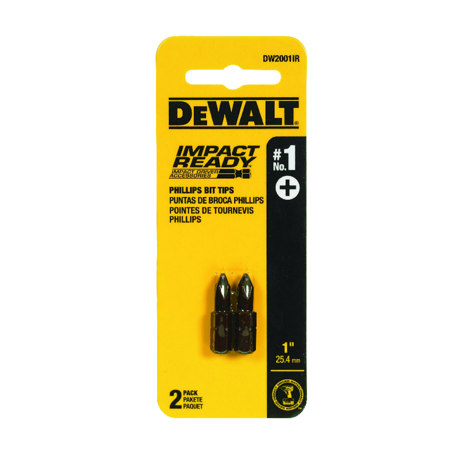 DeWalt  Impact Ready  Phillips  Screwdriver Bit  Black Oxide  1/4 in. #1   x 1 in. L 2 pc.