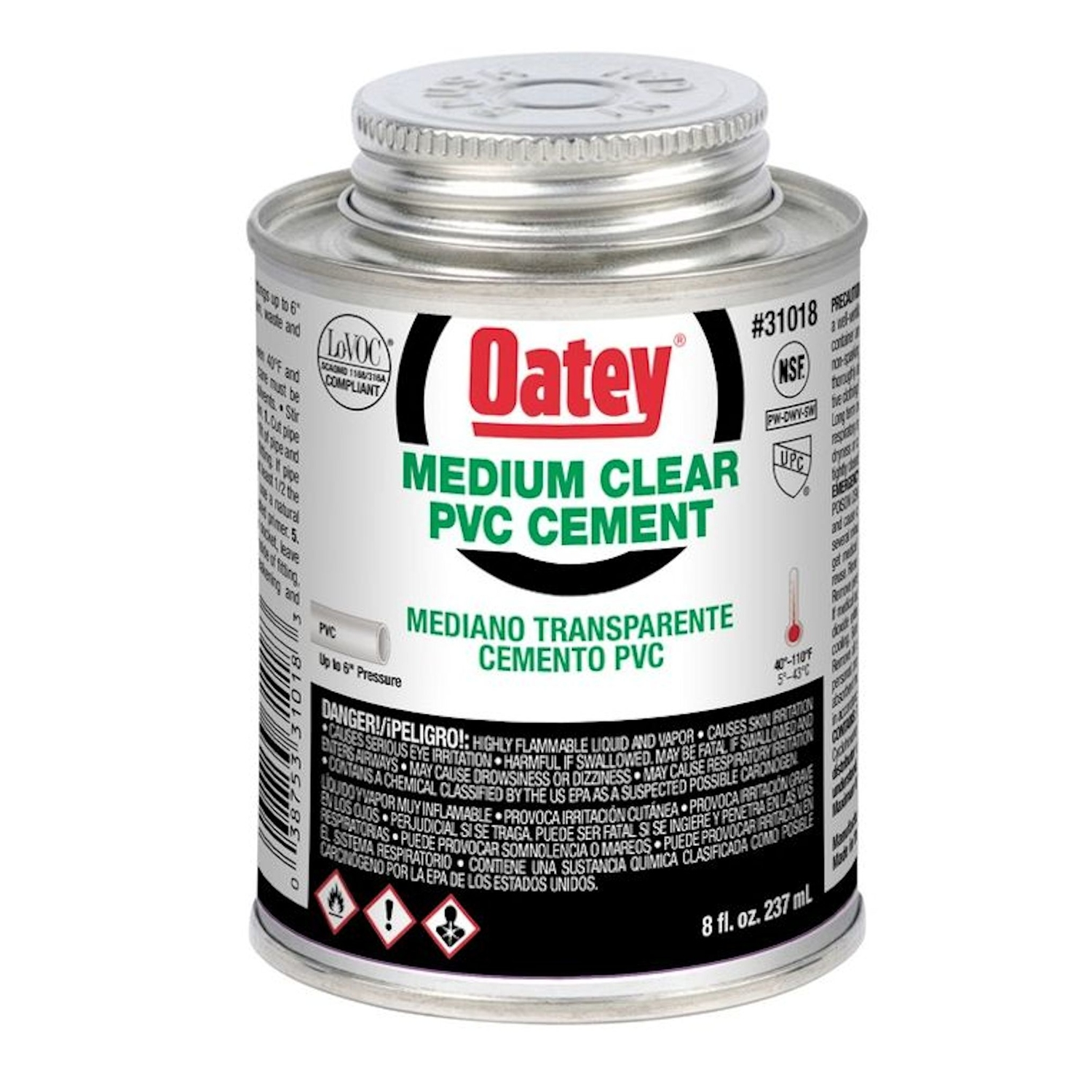 Oatey  Clear  For PVC 8 oz. Cement