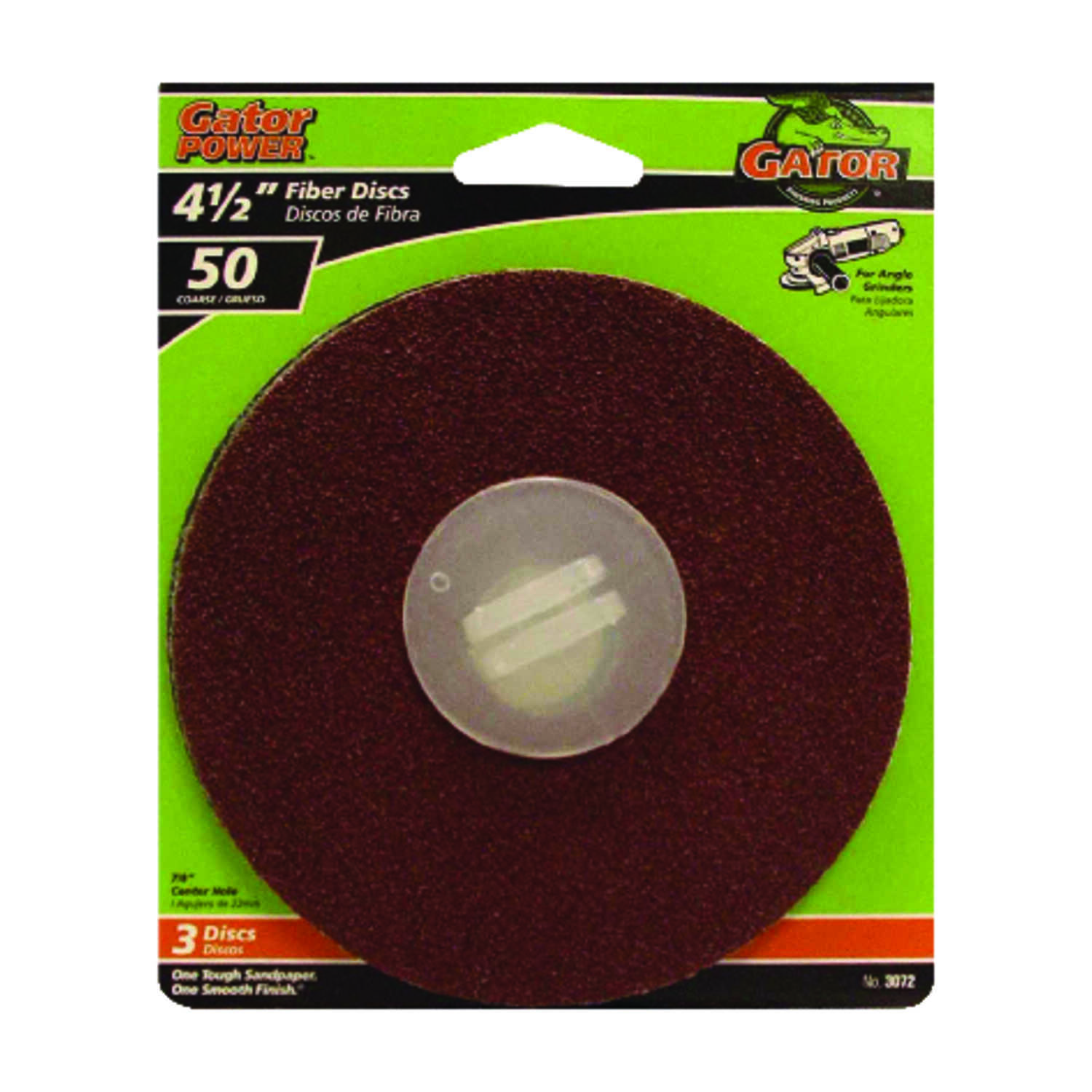 Gator  4.5 in. Aluminum Oxide  Center Mount  Fiber Disc  50 Grit Coarse  3 pk