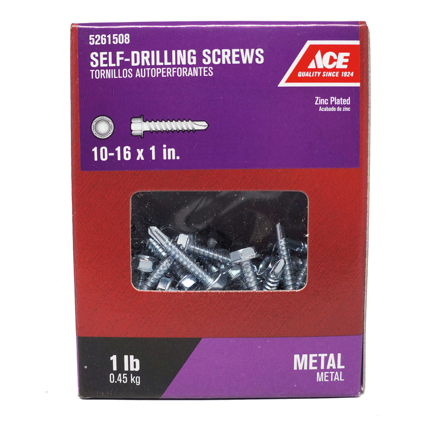 Ace  10-16 Sizes  x 1 in. L Hex Washer Head Zinc-Plated  Steel  Self- Drilling Screws  1 lb.