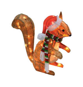 Celebrations  LED Christmas Squirrel  Yard Art  Brown  MDF  1 pk