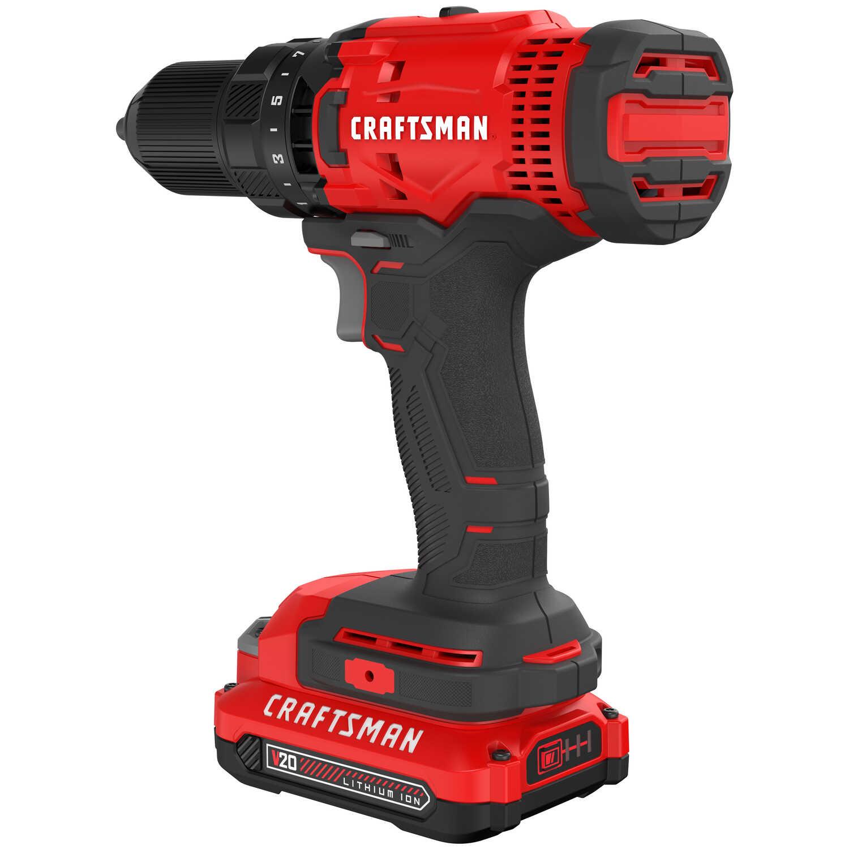 Craftsman 20V MAX 20 volt Brushed Cordless Drill/Driver Kit 1500 rpm