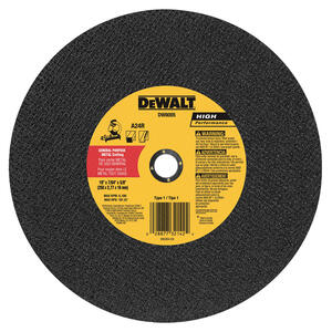 DeWalt  High Performance  10 in. Dia. x 7/64 in. thick  x 5/8 in.   Metal Grinding Wheel  1 pc.