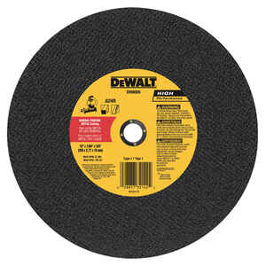 DeWalt  High Performance  10 in. Dia. x 7/64 in. thick  x 5/8 in.   Aluminum Oxide  Metal Grinding W