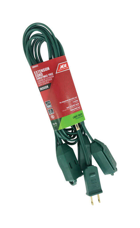 Ace  Indoor  15 ft. L Green  Extension Cord  18/2 SPT-2