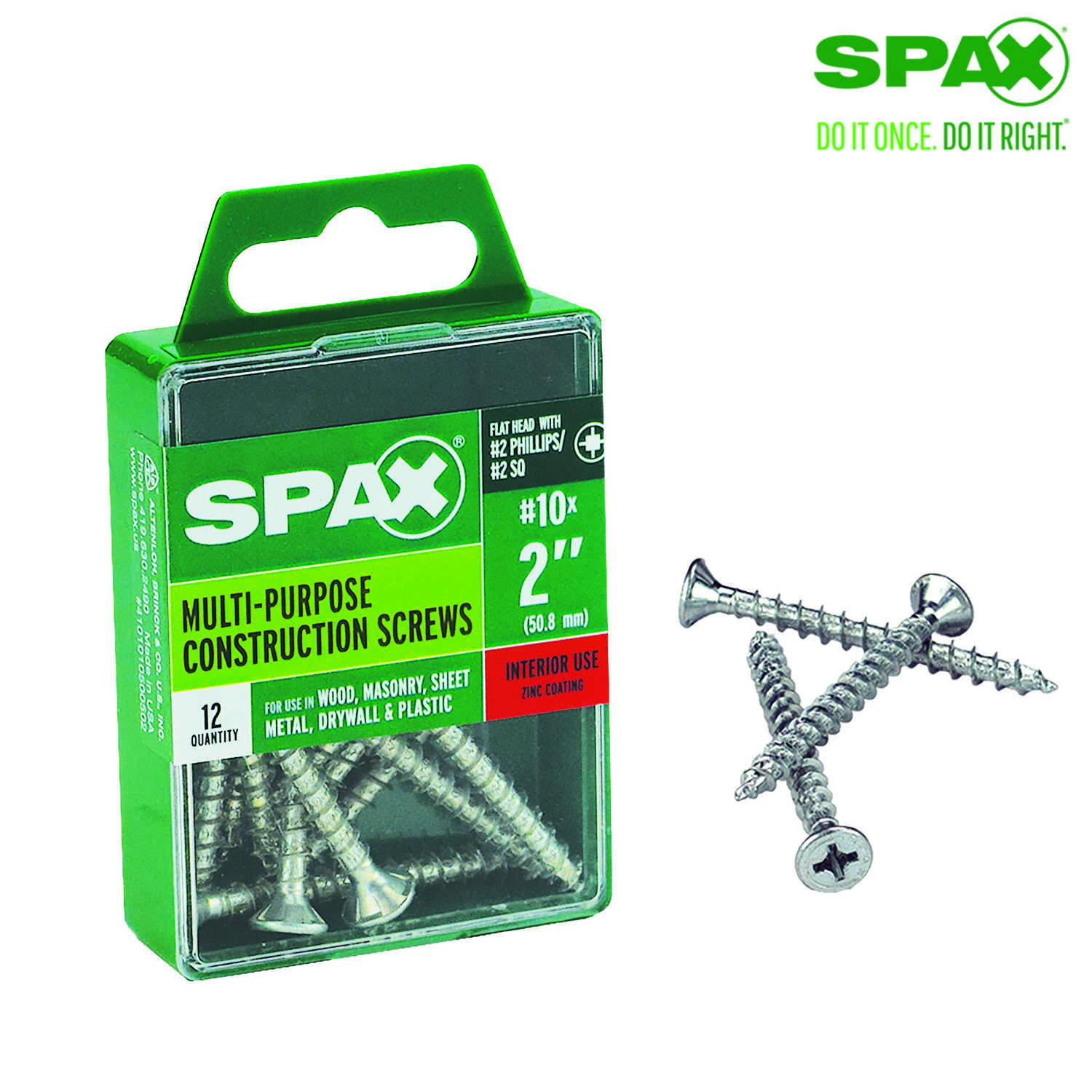 SPAX  No. 10   x 2 in. L Phillips/Square  Flat  Zinc-Plated  Steel  Multi-Purpose Screw  12 each