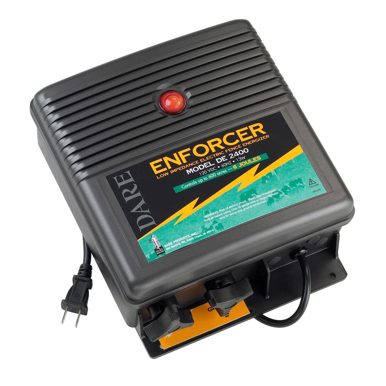 Dare Products  Enforcer  110 volt Electric-Powered  Fence Energizer  Black  600 acres