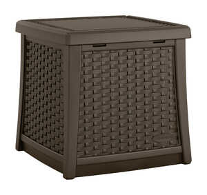 Suncast  Elements  Resin Wicker  19.438 in. H x 10.563 in. W x 18.75 in. D Brown  Deck Box
