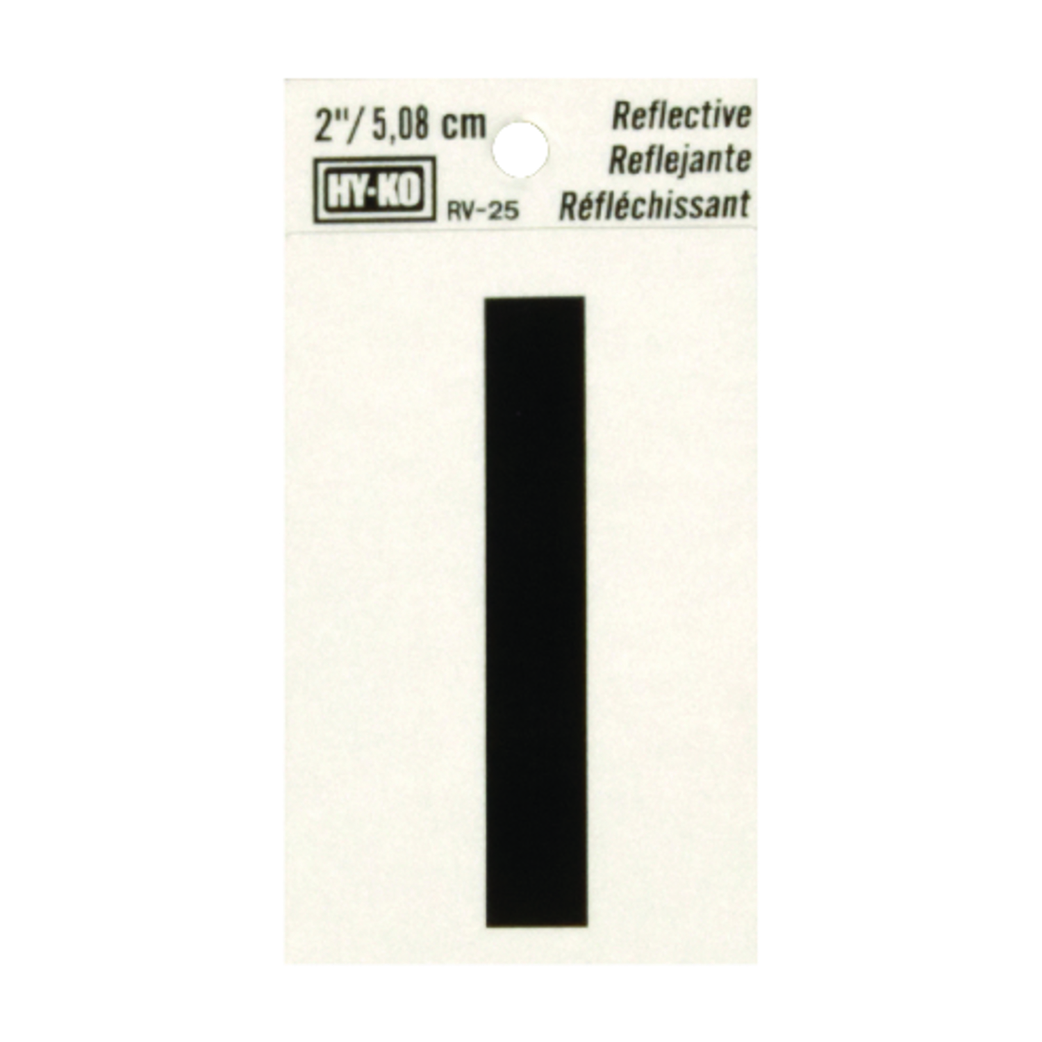 Hy-Ko  Reflective Vinyl  2 in. I  Letter  Self-Adhesive  Black