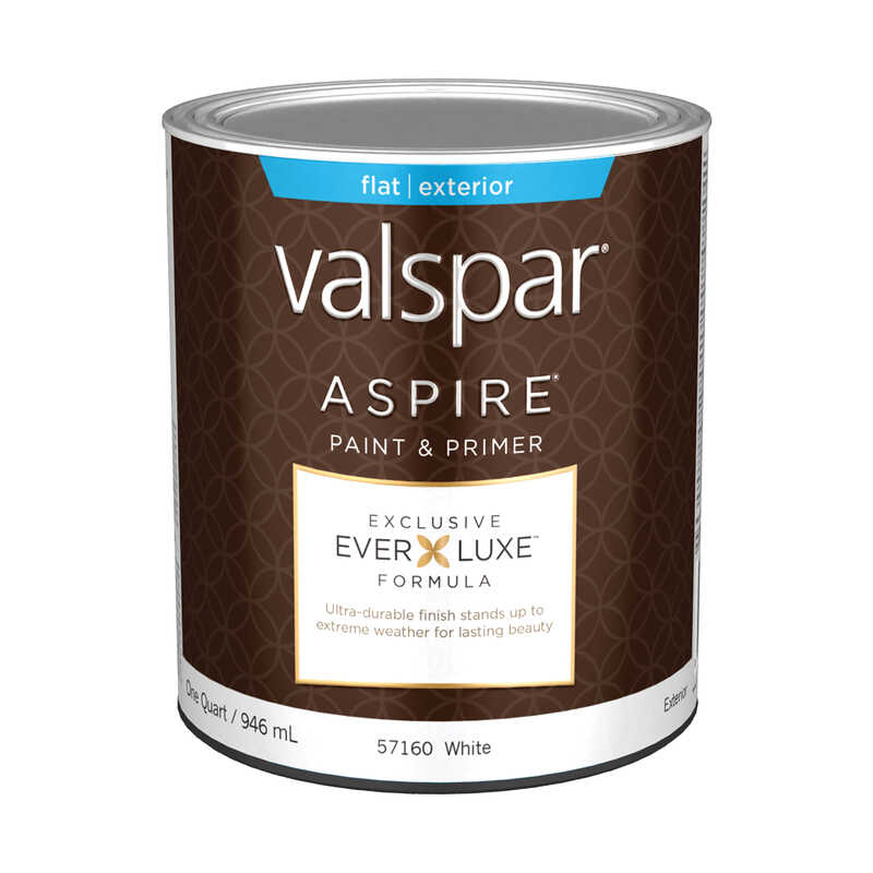 Valspar  Aspire  Basic White  White Base  Acrylic Latex  Paint and Primer  1 qt. Flat