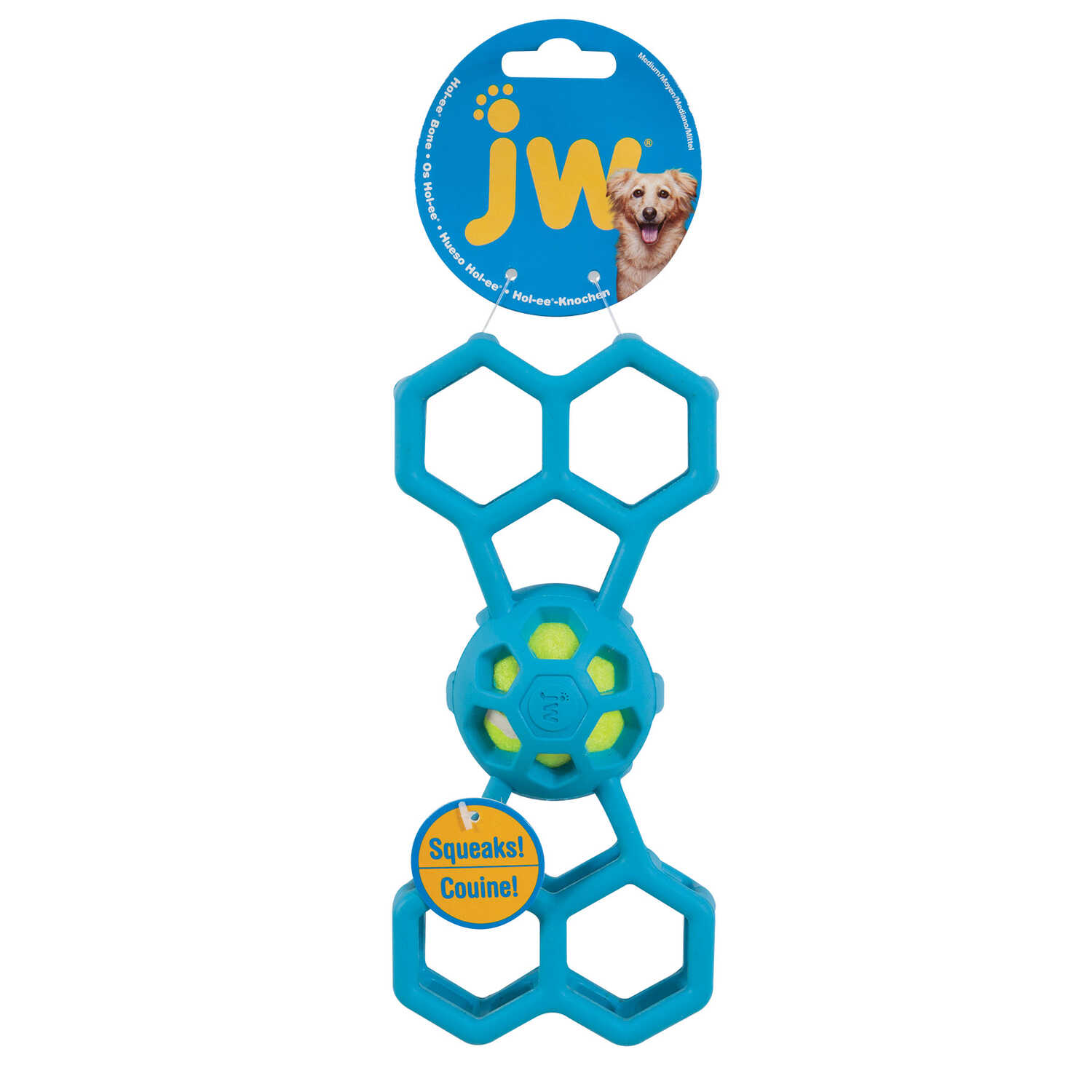 JW Pet  Assorted  Hol-ee Bone with Squeaker  Dog Toy  Medium  Rubber