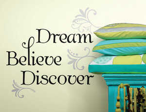 Roommates  16 in. W x 8 in. L Dream Believe Discover  Peel and Stick  Wall Decal