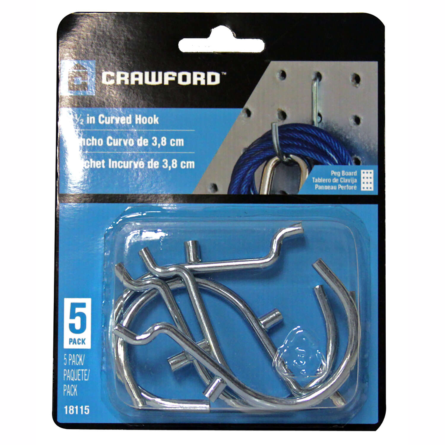 Crawford  Zinc Plated  Silver  1.5 in. Peg Hooks  5  Steel