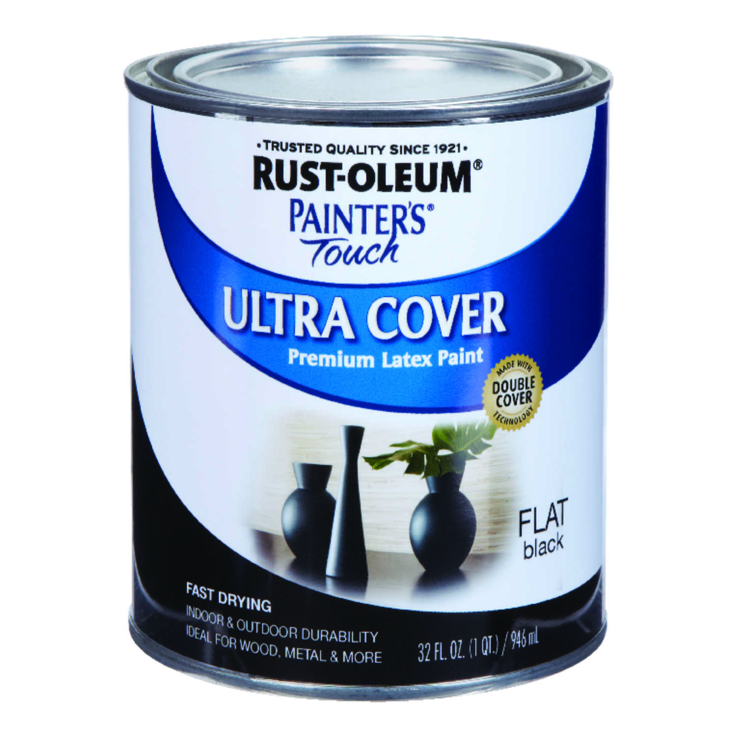 Rust-Oleum  Painters Touch Ultra Cover  Indoor and Outdoor  Black  Latex  1 qt. Paint  Flat