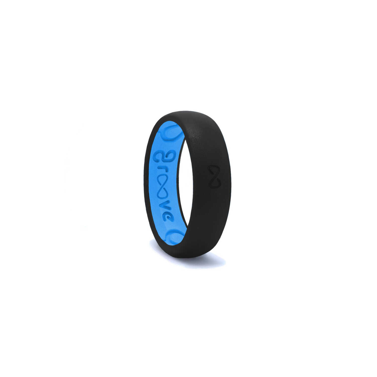 Groove Life  Unisex  Round  Midnight Black/Blue  Wedding Band  Water Resistant Silicone