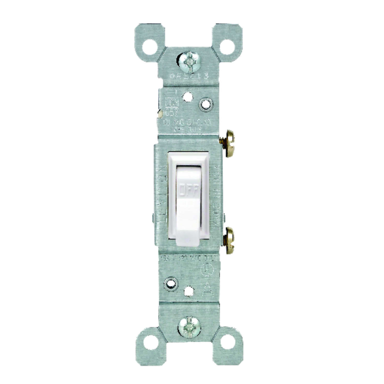 Leviton  15 amps 15 amps Single Pole  Toggle  1 pk White  Switch