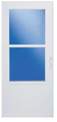 LARSON  81 in. H x 32 in. W Aluminum/Wood  White  Mid-View  Reversible  Self-Storing Storm Door