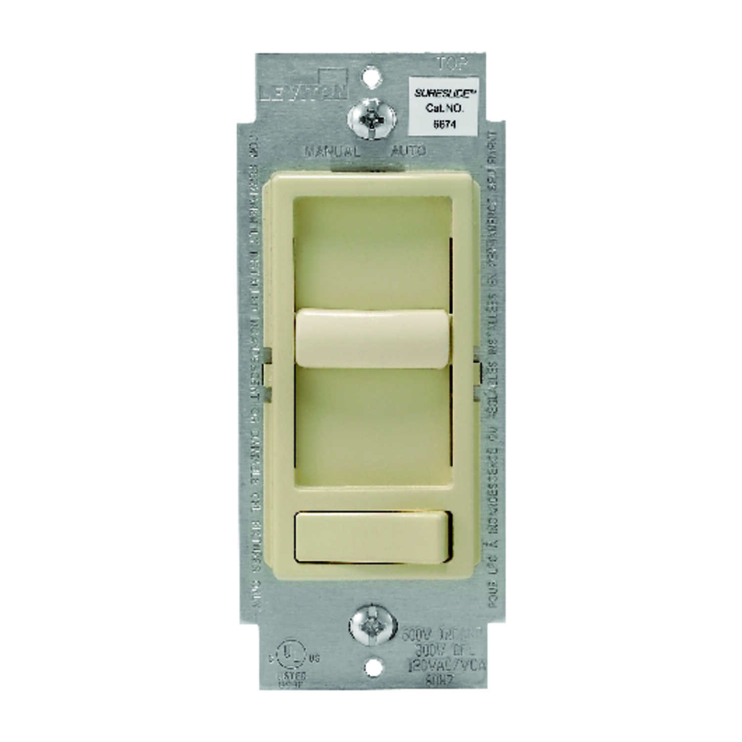 Leviton  SureSlide  Ivory  600 watts Preset Slide  Dimmer Switch  1 pk