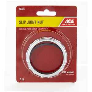Ace  2 in. Dia. Chrome  Rubber  Slip Joint Nut and Washer  1 pk
