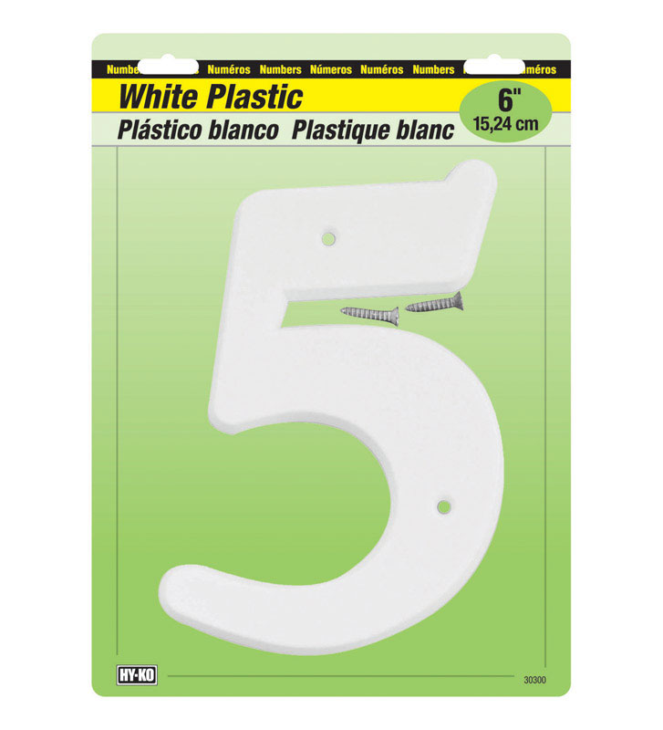 Hy-Ko  Plastic  White  6 in. Number  5  Nail On