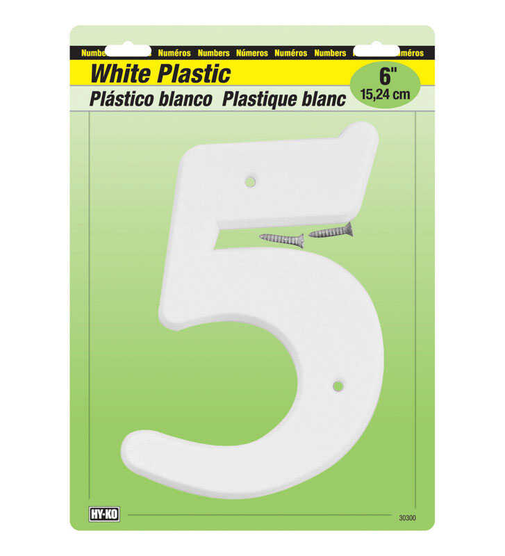 Hy-Ko  6 in. Plastic  White  5  Number  Nail On